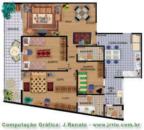 Fully furnished apartment - floor plan rendering
