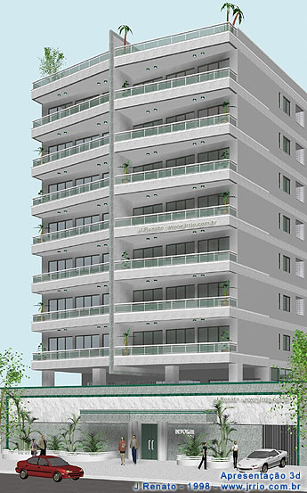 Apartment building architectural rendering | Eye level view