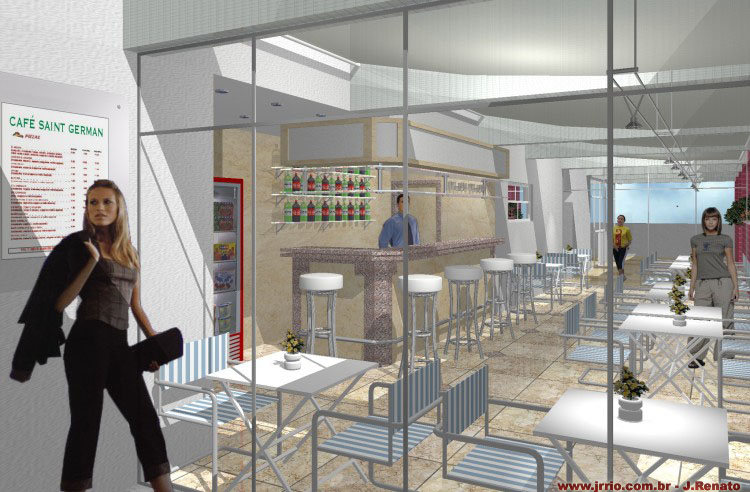 Cofee Bar - 3D interior commercial rendering