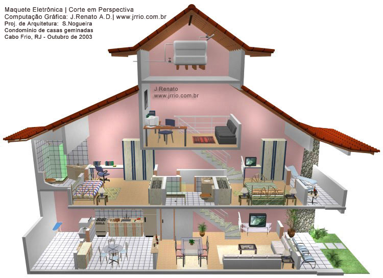 3d rendering attached houses 3d house drawing