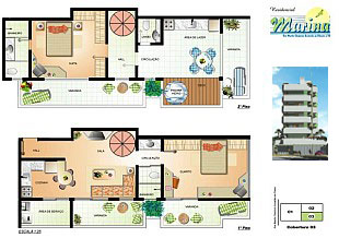 Floor plan rendering of a unit of the apartment building