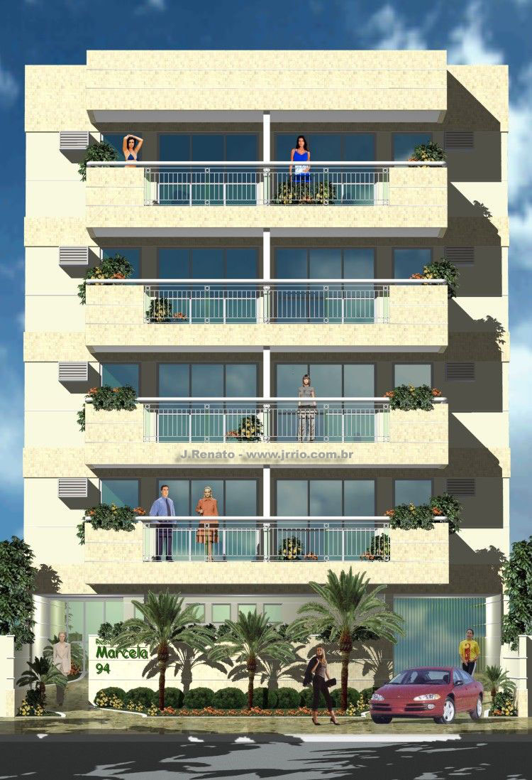 Architectural rendering apartment building for Small apartment building design