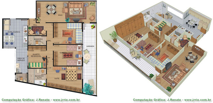 Photorealistic floor plan renderings - lane view and dolls house view