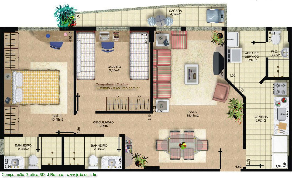 Photorealistic Furnished Floor Plan Renderings